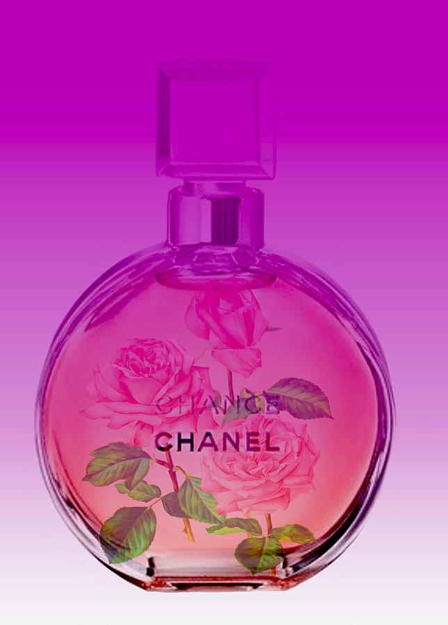 chanel chance perfume pink digital art by del art