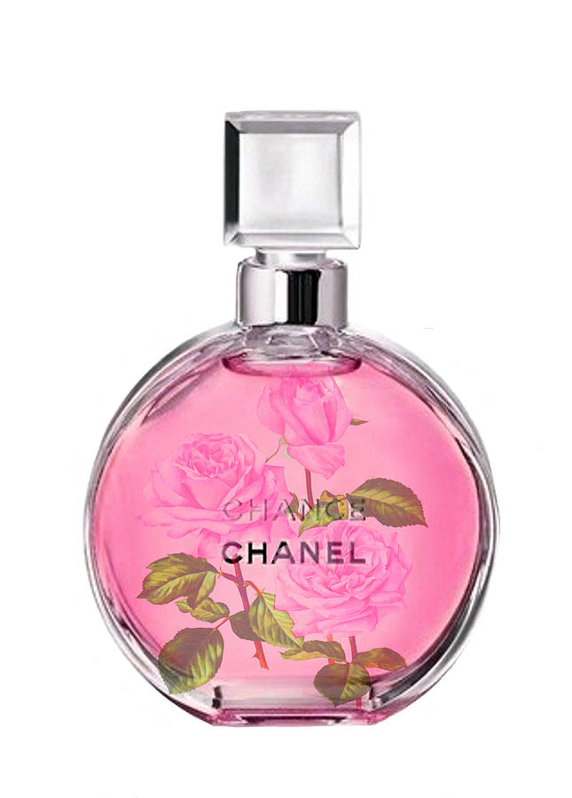 bbec8f924f2 Chanel Chance Painting - Chanel Chance Pink With Roses by Del Art