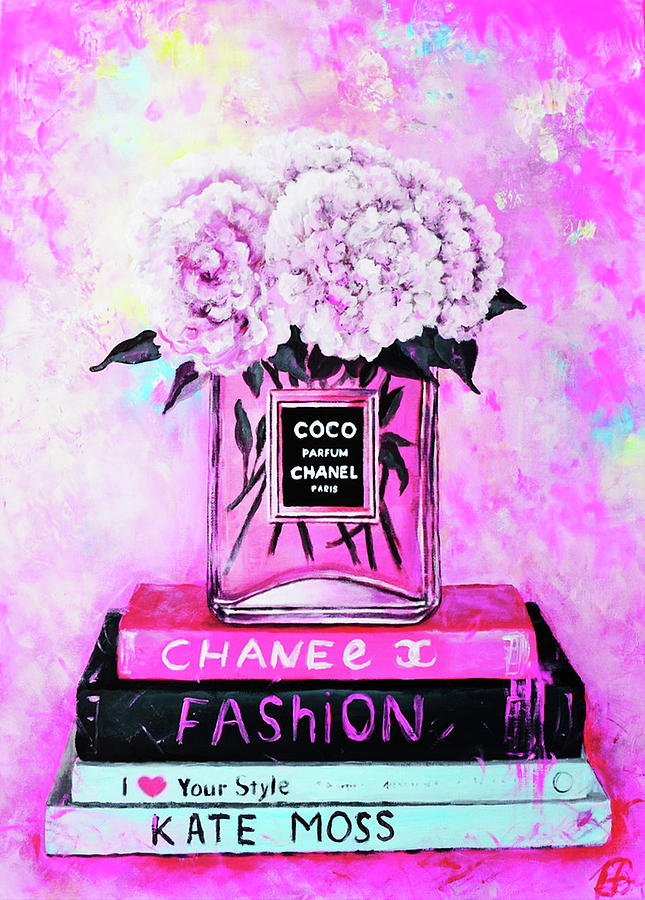 Chanel Poster Painting - Chanel Perfume With Peony by Del Art