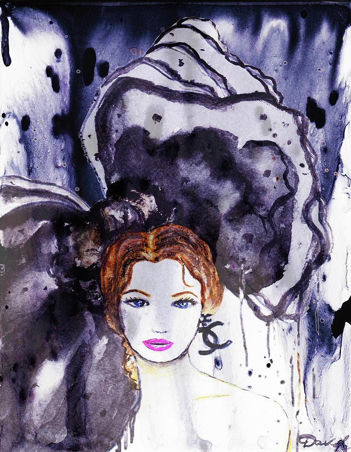 Chanel Poster Painting - Chanel Girl by Del Art