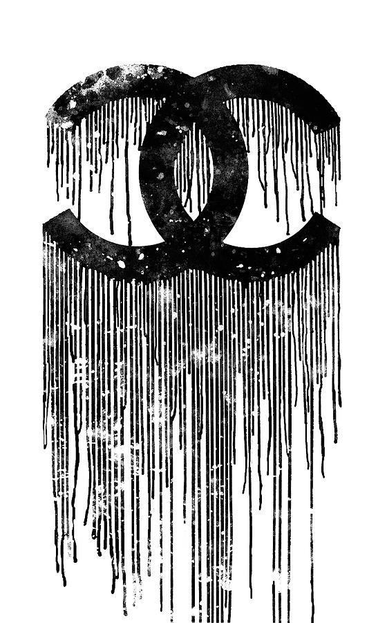 Chanel Poster Painting - Chanel Logo Black White 1 by Del Art