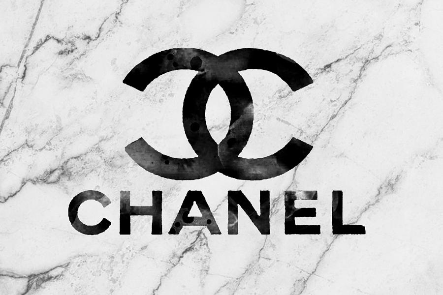 Chanel Logo White Marble Mixed Media By Del Art