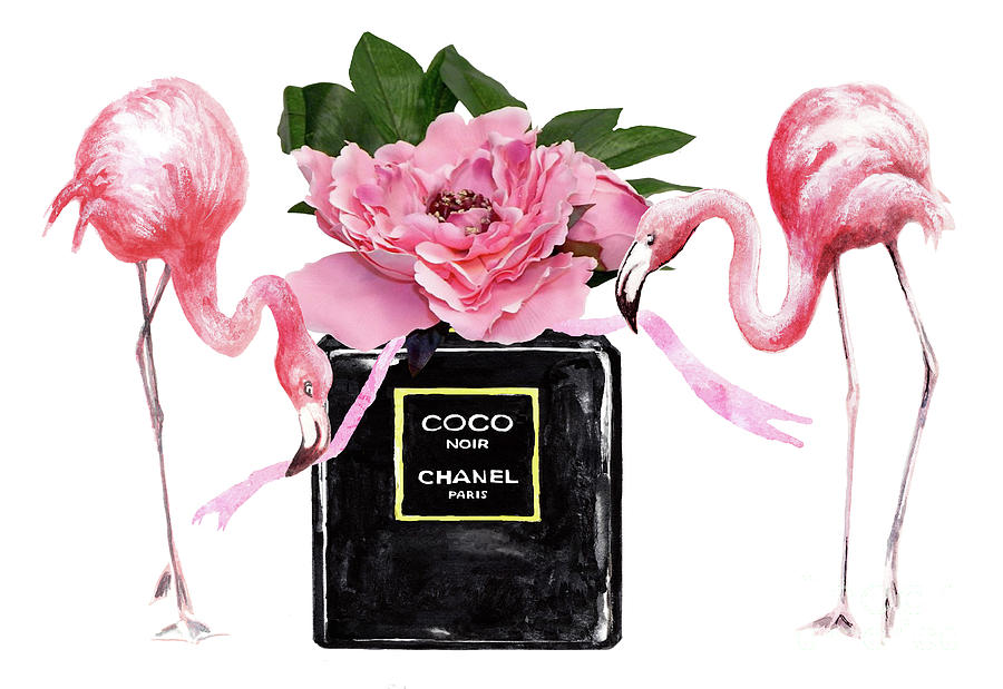 Chanel Noir Perfume With Flamingos Painting By Green Palace