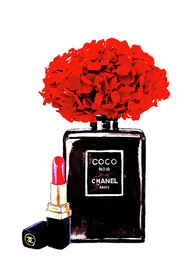 chanel noir perfume with red hydrangea painting by del art