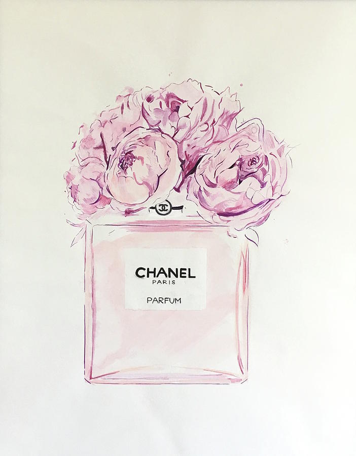 Chanel Wall Art - Painting - Chanel Peonies by Anna Shogren 92fe436284df2
