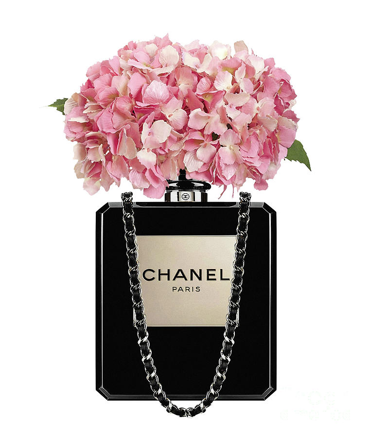 chanel perfume bag with pink hydrangea 2 painting by del art