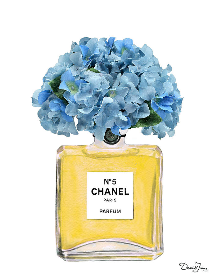 Chanel Perfume Nr 5 With Blue Hydragenias Painting By Del Art