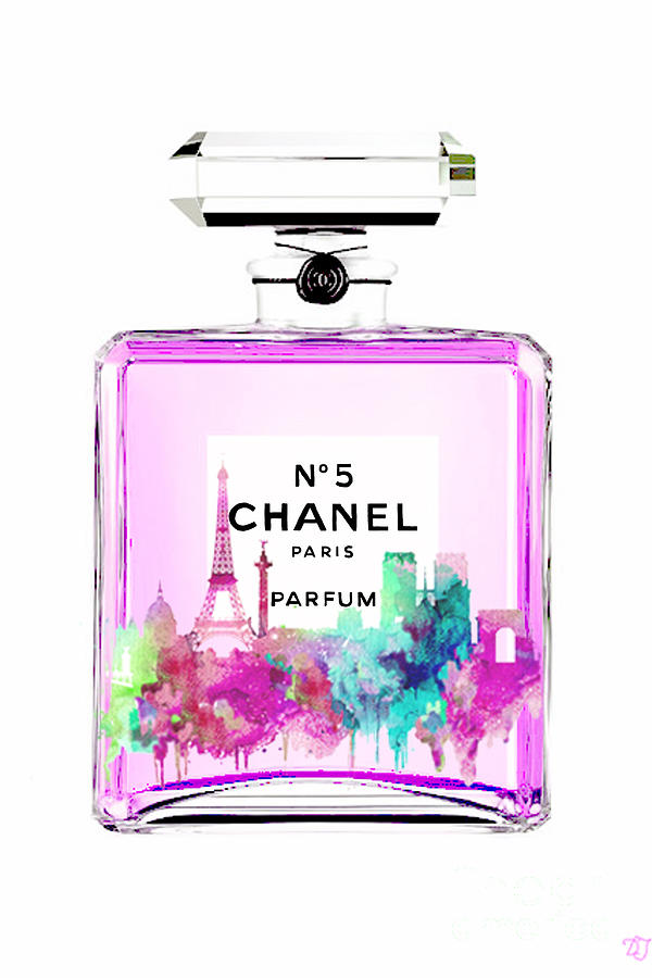 8a5e7eead451 Chanel Perfume Pink Painting by Del Art