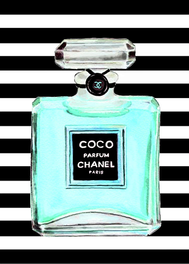 Chanel Perfume Painting - Chanel perfume turquoise chanel poster chanel print by Del Art
