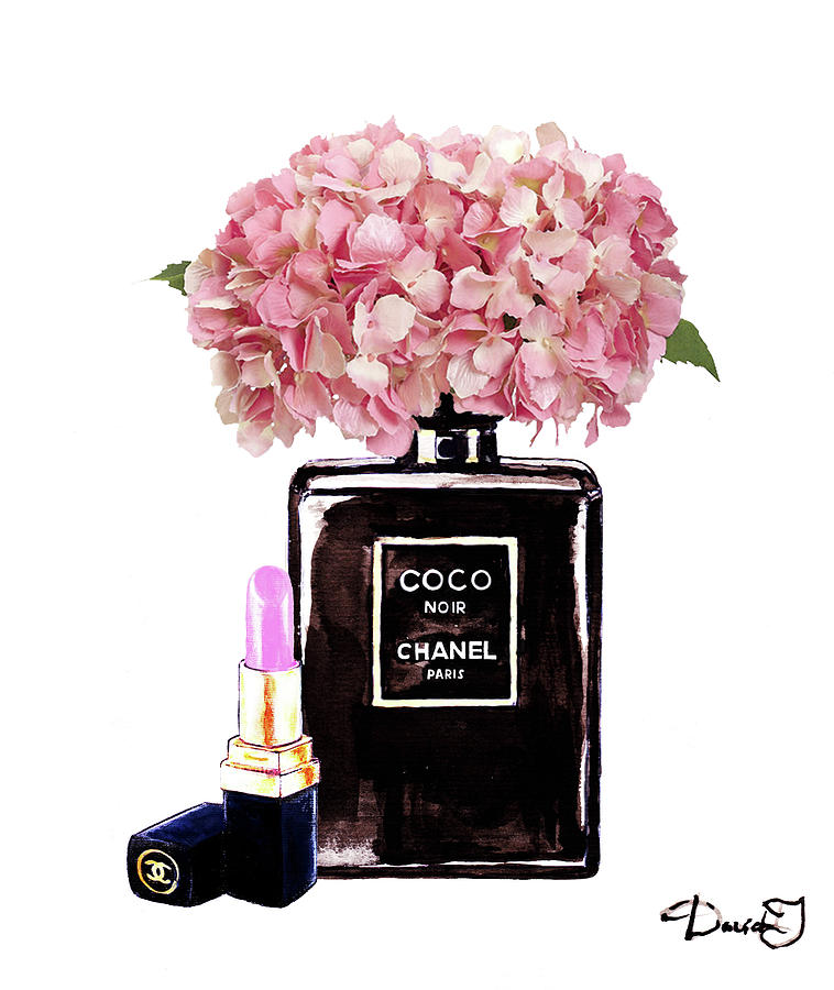 Chanel Perfume With Pink Hydragenia 2 Painting by Del Art