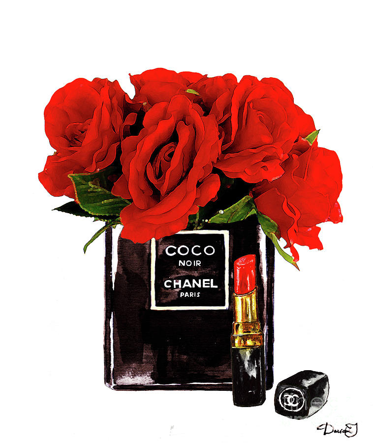 Chanel Painting - Chanel Perfume With Red Roses by Del Art