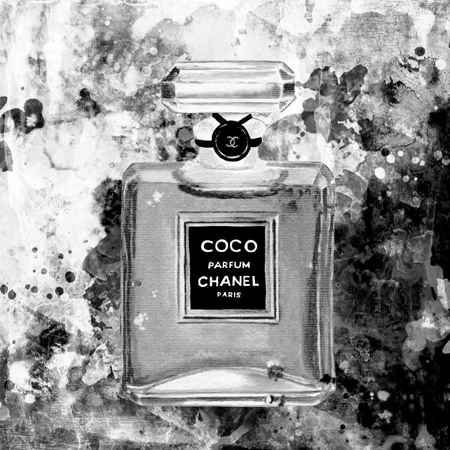 Chanel poster chanel print chanel black white perfume print chanel black white watercolor