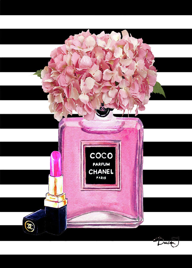Chanel Poster Painting - Chanel Poster Pink Perfume Hydrangea Print by Del Art