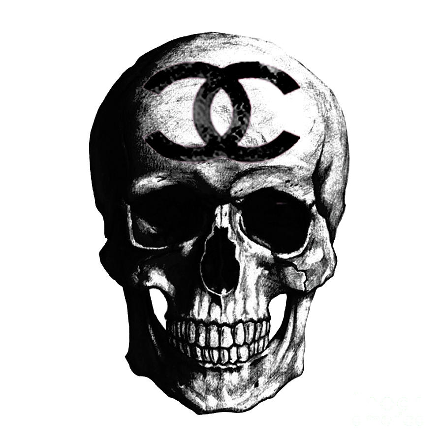 Chanel Poster Painting - Chanel Skull Black by Del Art