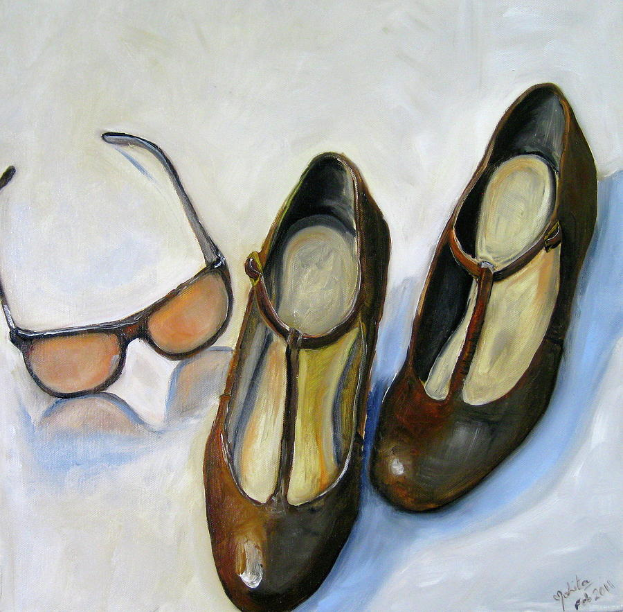 Shoes Painting - Chanel Sunglasses And Brown Shoes by Mohita Bhatnagar