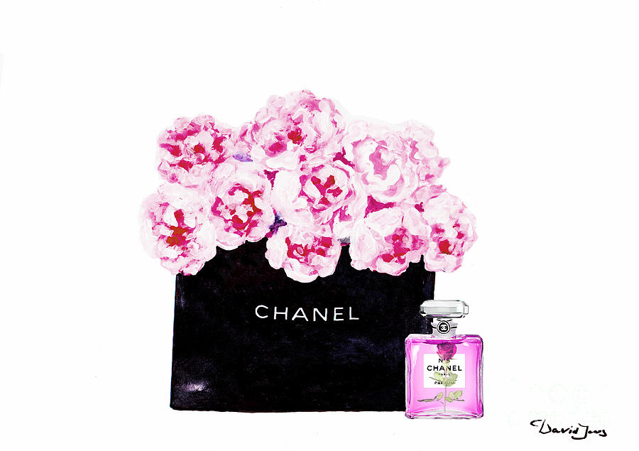 Chanel Mixed Media - Chanel With Flowers by Del Art