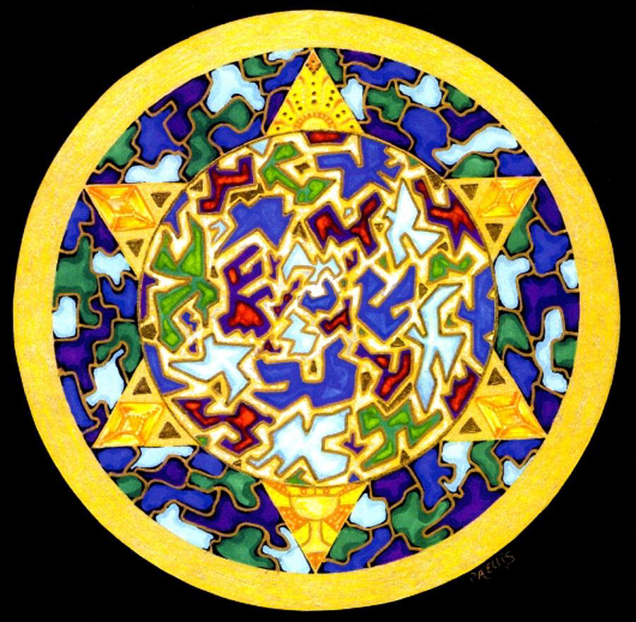 Puzzle Pieces Painting - Changes   Mandala Series by Pam Ellis
