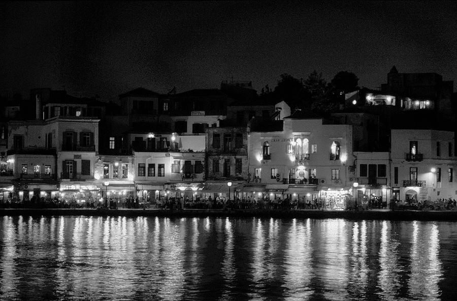 Nokia Photograph - Chania By Night In Bw by Jouko Lehto