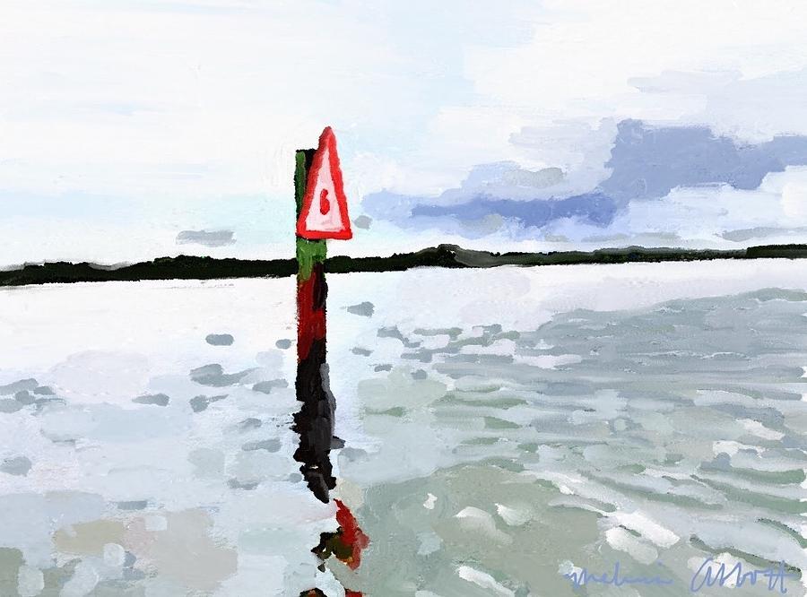Channel Marker Painting - Channel Marker, Banana River, Merritt Island, Fl by Melissa Abbott