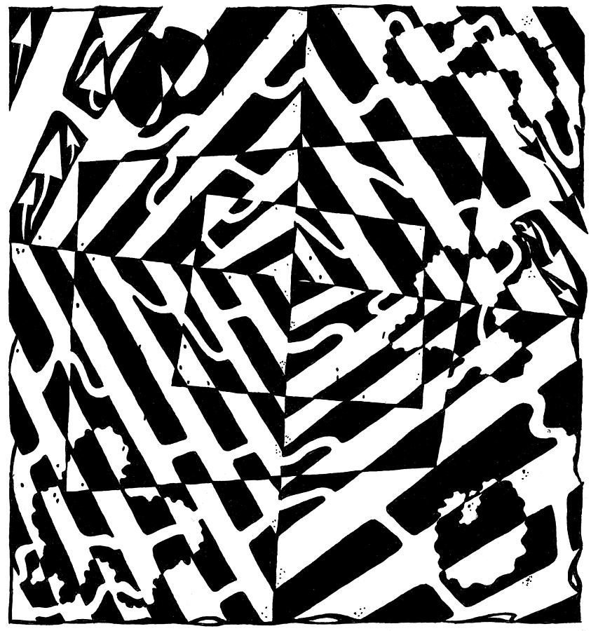 Chaos Painting - Chaos Maze Optical Illusion by Yonatan Frimer Maze Artist