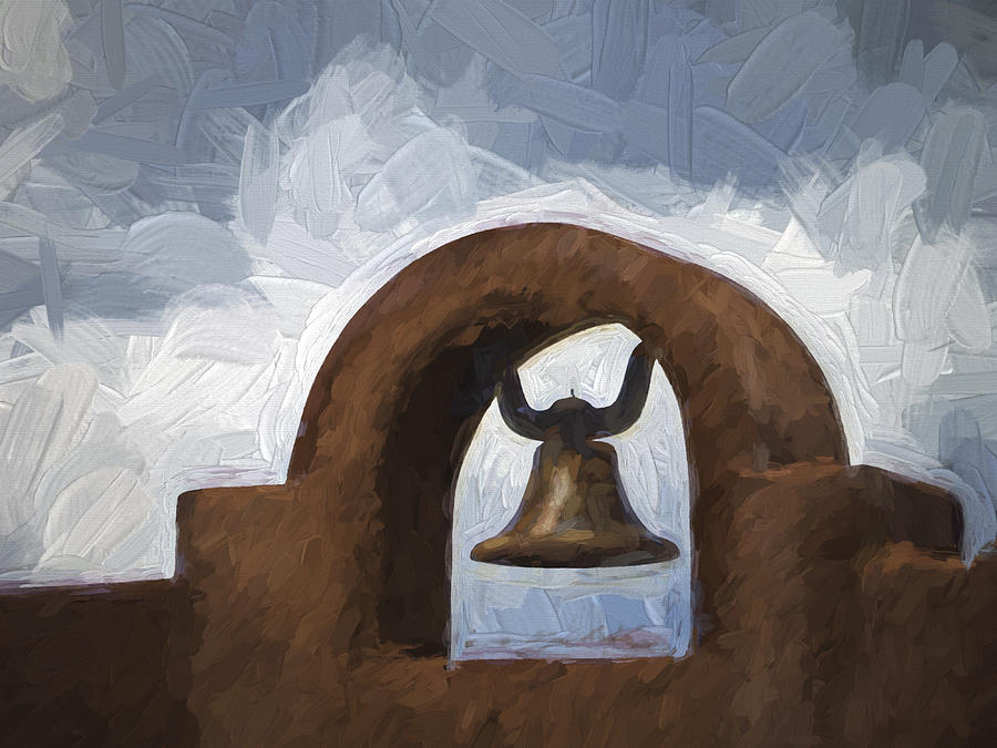 Chimayo Photograph - Chapel Bell Chimayo Painterly Effect by Carol Leigh