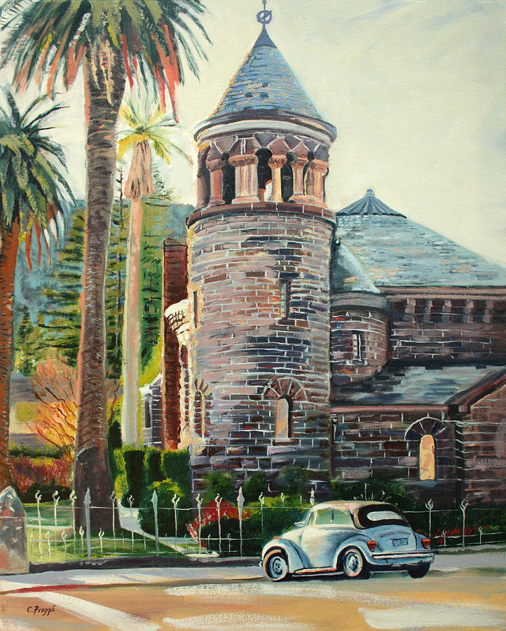 Vw Bug Painting - Chapel Bug by Colleen Proppe