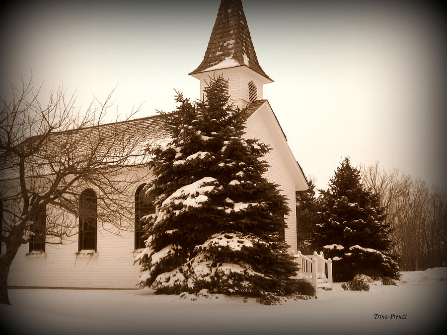 Chapel Photograph - Chapel In The Snow by Trina Prenzi