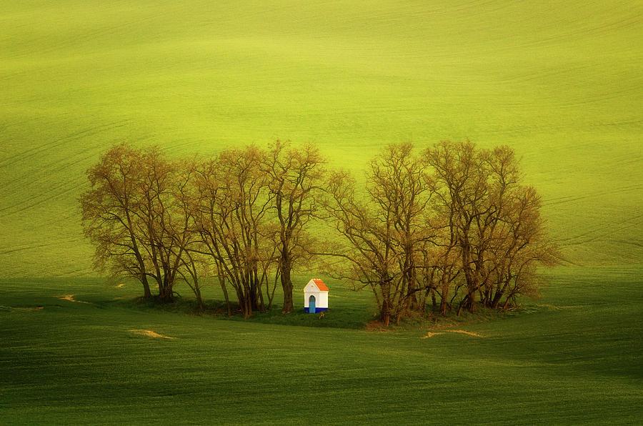 Chapel Photograph - Chapel-in-trees by Swen Stroop