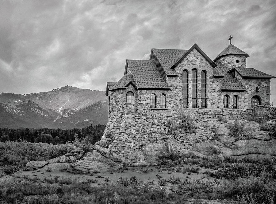Chapel On The Rock - Black And White Photograph