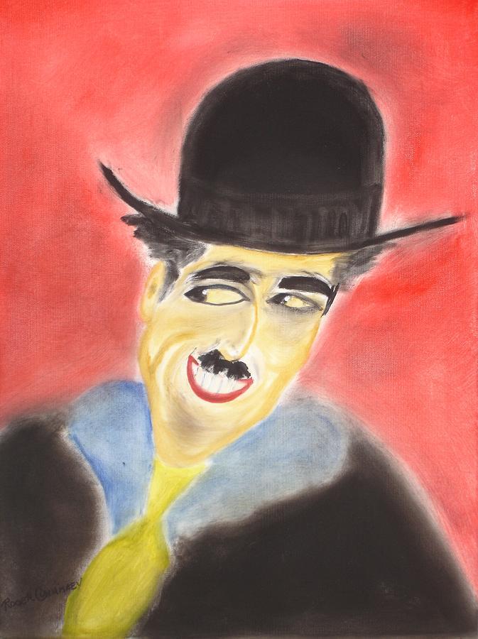 Cinema Film Painting - Chaplin by Roger Cummiskey