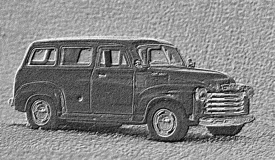 Chevy Photograph - Charcoal Filtered  Burban - c1950 by Lin Grosvenor