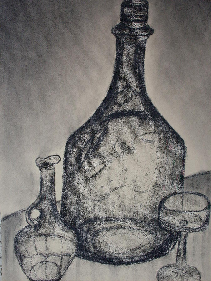 Charcoal  Glass Drawing by Emily Ruth Thompson