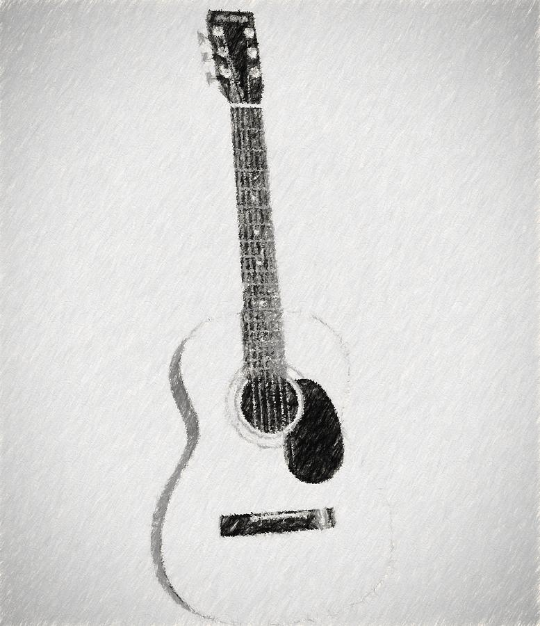 Charcoal Guitar Sketch Drawing By Dan Sproul