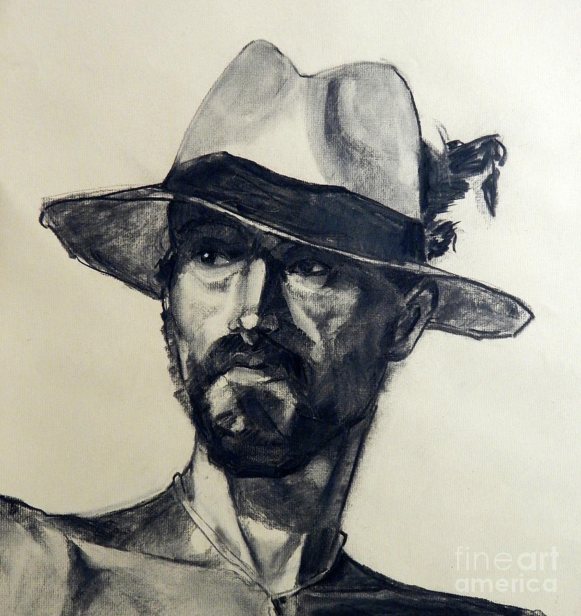 Painted Portrait Painting - Charcoal Portrait Of A Man Wearing A Summer Hat by Greta Corens