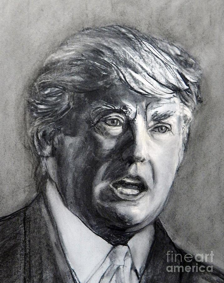 Painted Portrait Painting - Charcoal Portrait Of The Donald by Greta Corens