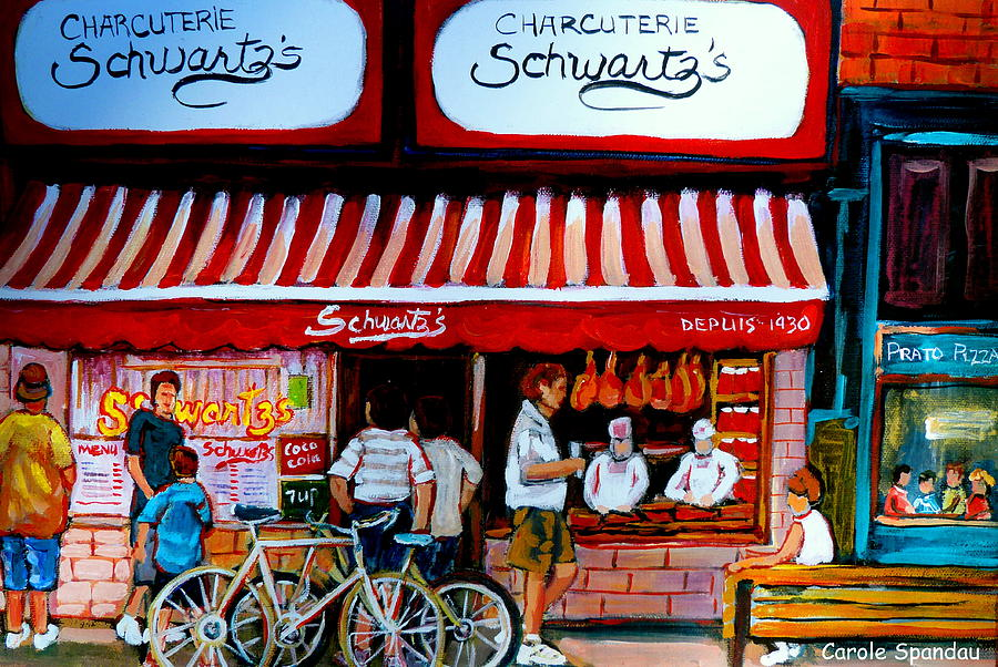 Schwartzs Painting - Charcuterie Schwartzs Deli Montreal by Carole Spandau