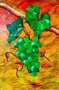 Grapes Painting - Chardonnay by Blackcat Studios
