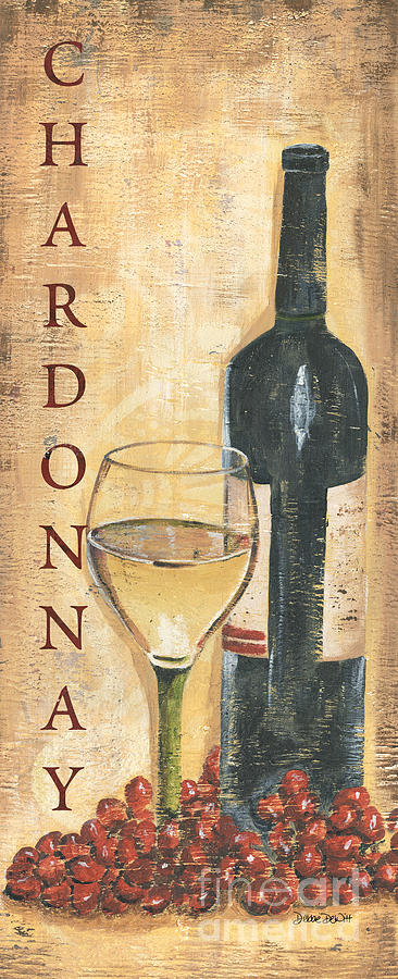 Wine Painting - Chardonnay Wine and Grapes by Debbie DeWitt