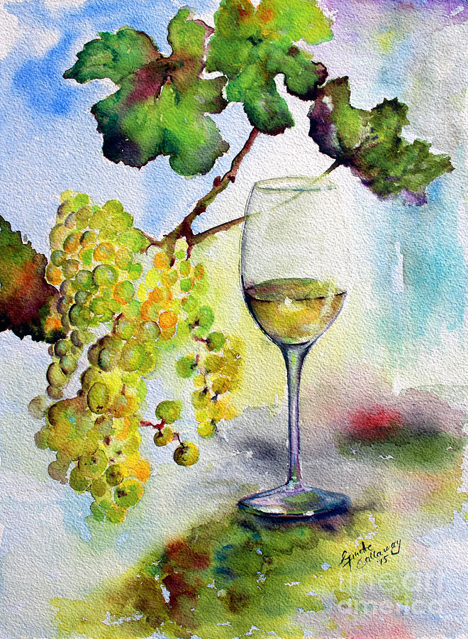 Chardonnay Wine Glass and Grapes Painting by Ginette Callaway