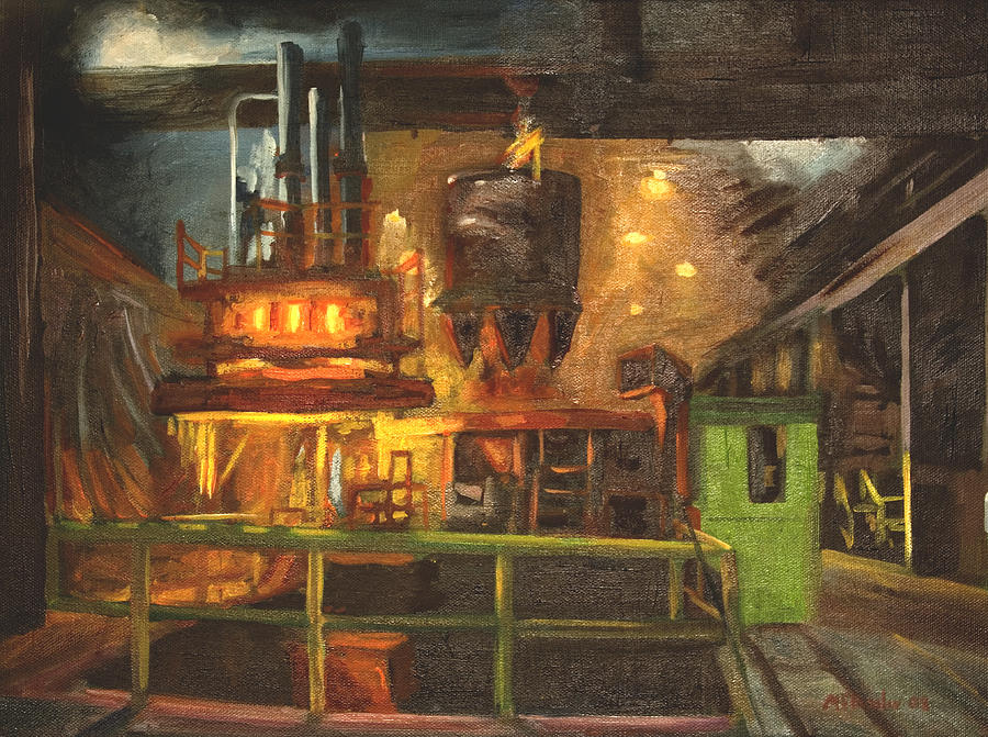 Factory Painting - Charging The Arc Furnace by Martha Ressler