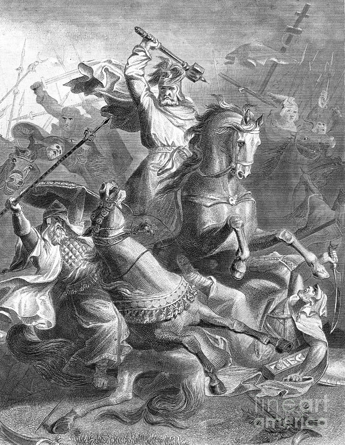 History Photograph - Charles Martel, Battle Of Tours, 732 by Photo Researchers