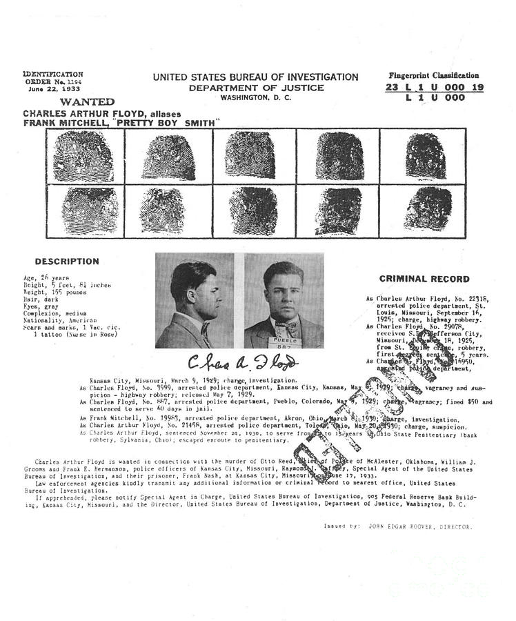 Charles Pretty Boy Floyd Wanted Poster Photograph By Art Kurgin