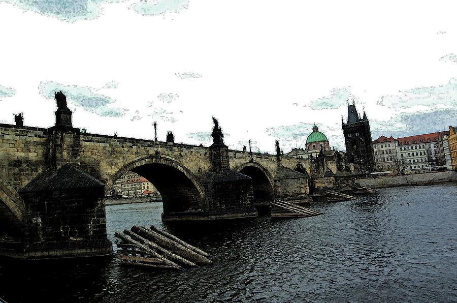 Prague Digital Art - Charles Street Bridge In Prague by Paul Pobiak