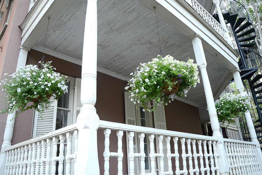 Charleston Gardens Photograph - Charleston Historical District Front Porch Flowers - Charleston Homes Architecture by Kathy Fornal