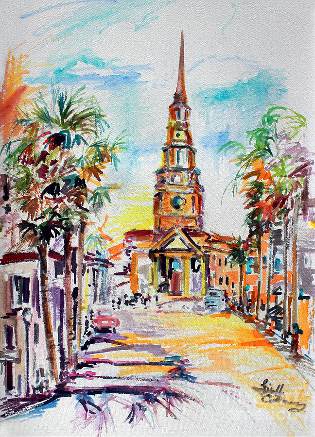 Charleston South Carolina Episcopal Church Painting by Ginette Callaway