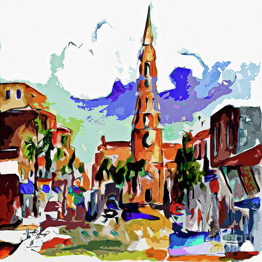 Charleston South Carolina Saint Philips Church Mixed Media by Ginette Callaway