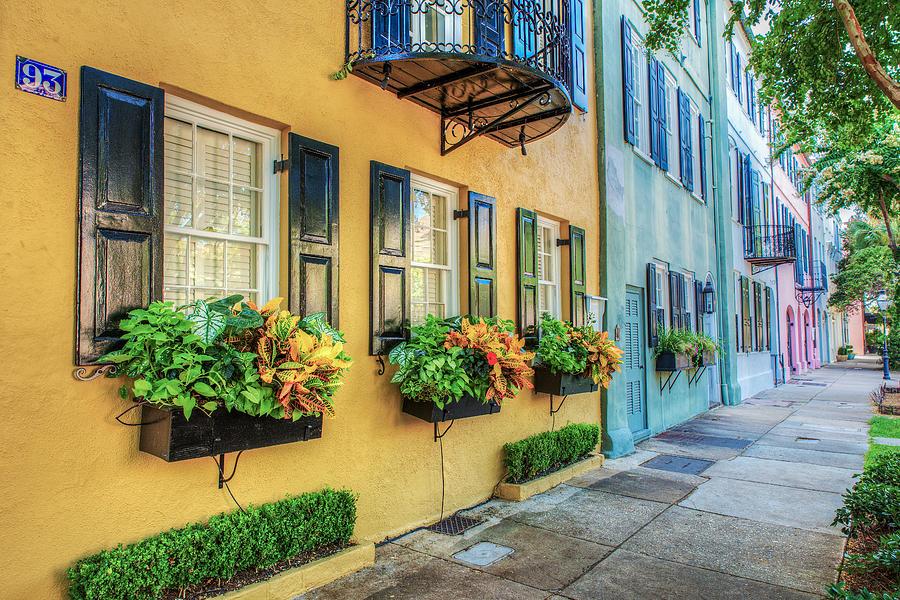 Charleston Photograph - Charlestons Rainbow Row by Drew Castelhano