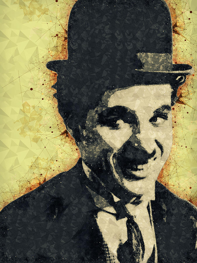Charlie Chaplin Illustration Mixed Media