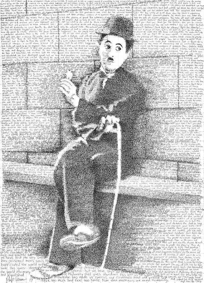 Charlie Chaplin Drawing - Charlie Chaplin in his own Words by Phil Vance