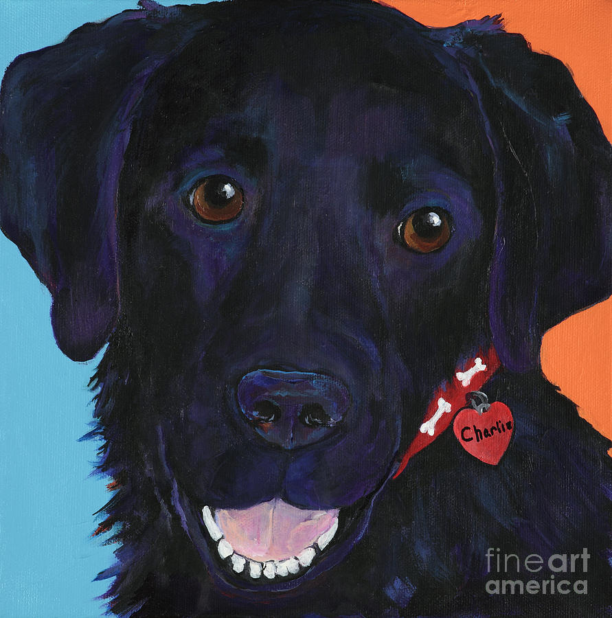 Black Labrador Painting - Charlie by Pat Saunders-White